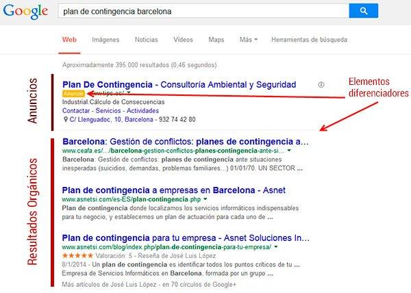 Cambios visuales en la búsqueda de Google