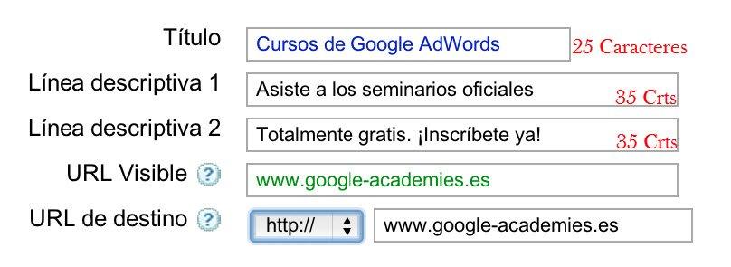 Redactar anuncios de Google AdWords