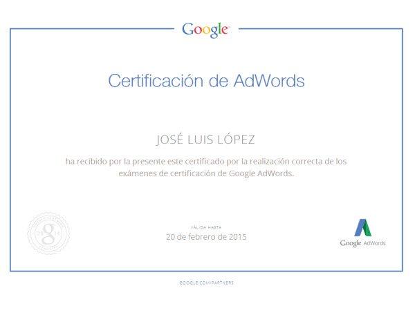 Certificados personalizados de AdWords