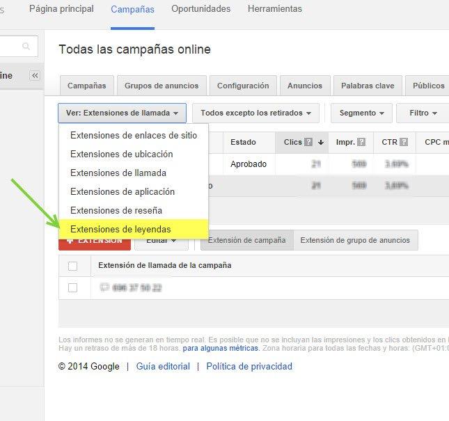Extensiones de Leyendas en Google AdWords