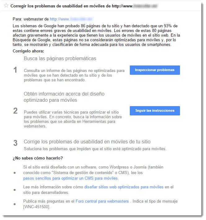 Mensaje usabilidad en móviles Google Webmasters Tools