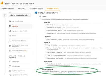 Objetivos inteligentes Google Analytics