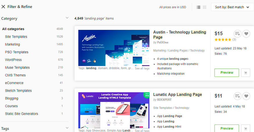 themeforest landing page