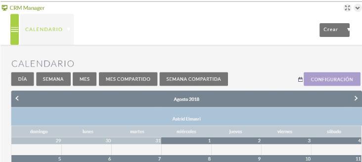 crm manager calendario