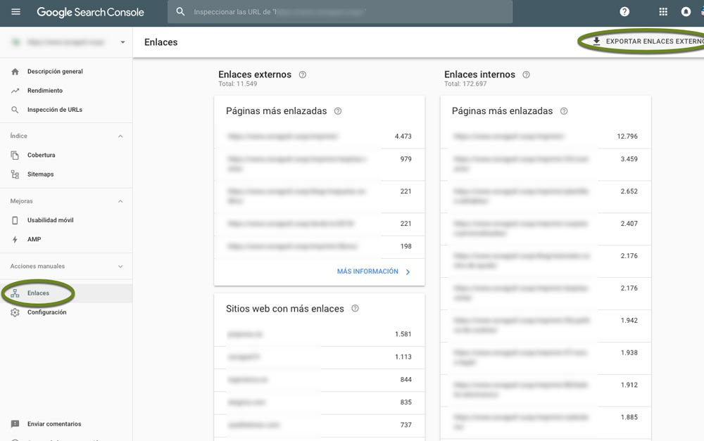 Google Search Console analiza tu perfil de enlaces