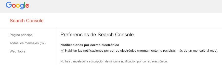 Habilitar las notificaciones por correo electrónico de Google