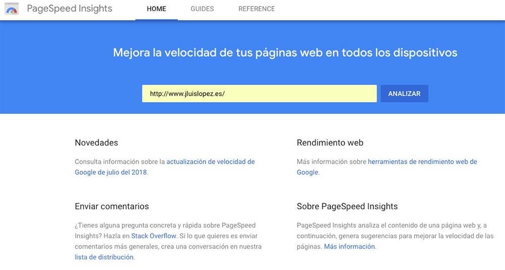 Comprueba la velocidad de tu web pagespeed insights