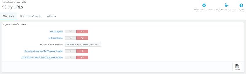 configurar la versión final de nuestras URLs.