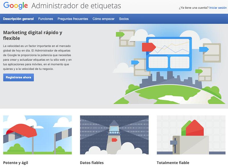 Administrador de etiquetas de Google o Tag Manager