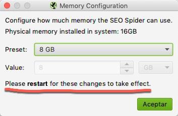 es beneficioso asignar más RAM de tu sistema a Screaming Frog