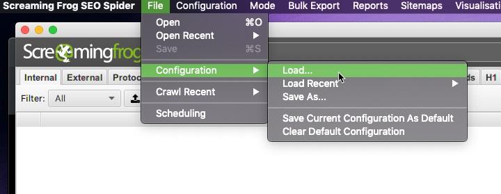 configuraciones establecidas para el rastreo inicial