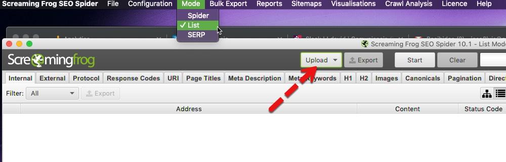 """el modo """"Lista"""" que rastreará una lista de URL"""